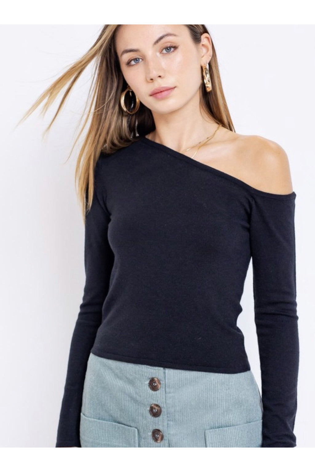 Nia One Shoulder Sweater Top
