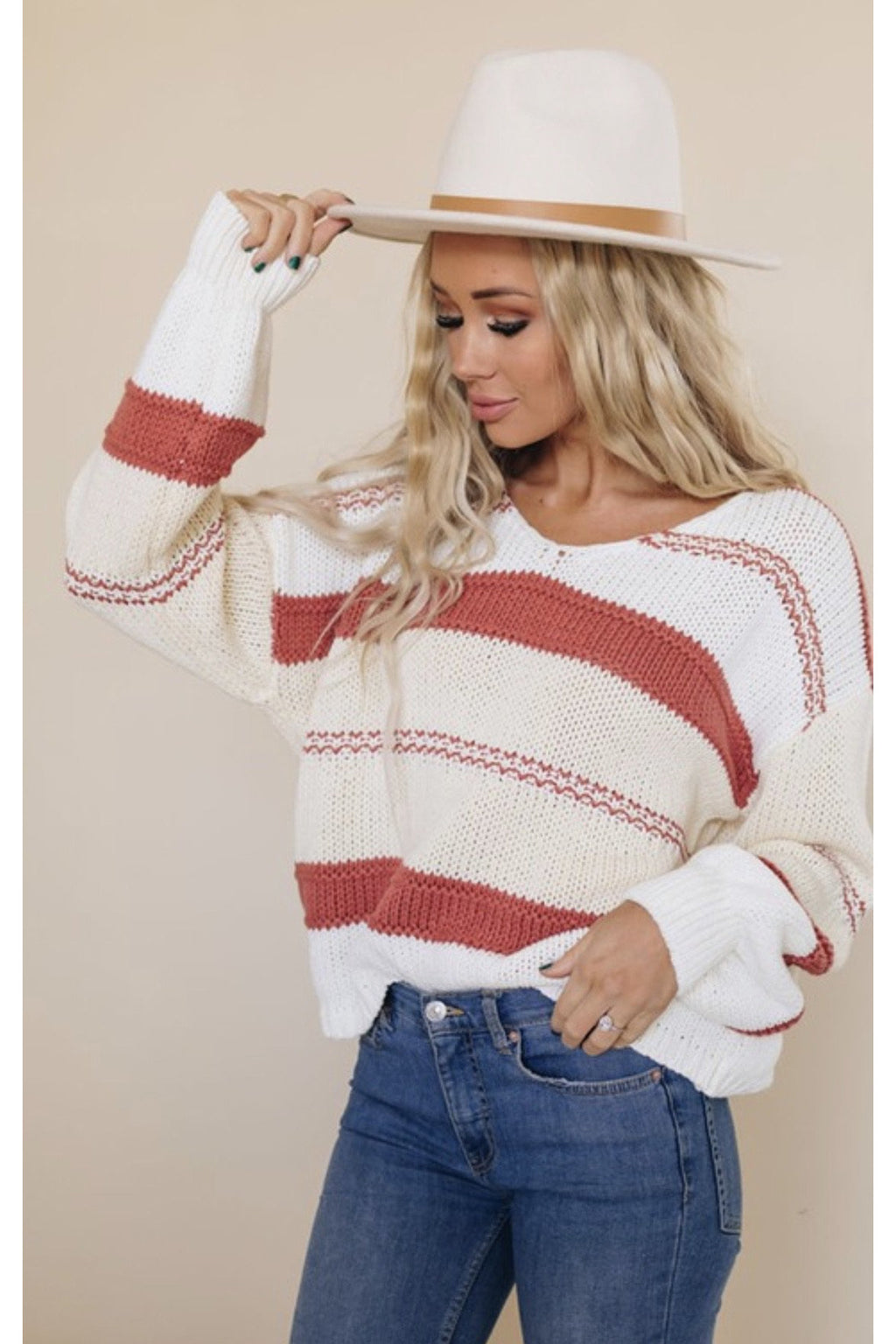 Roselyn Striped Sweater $58