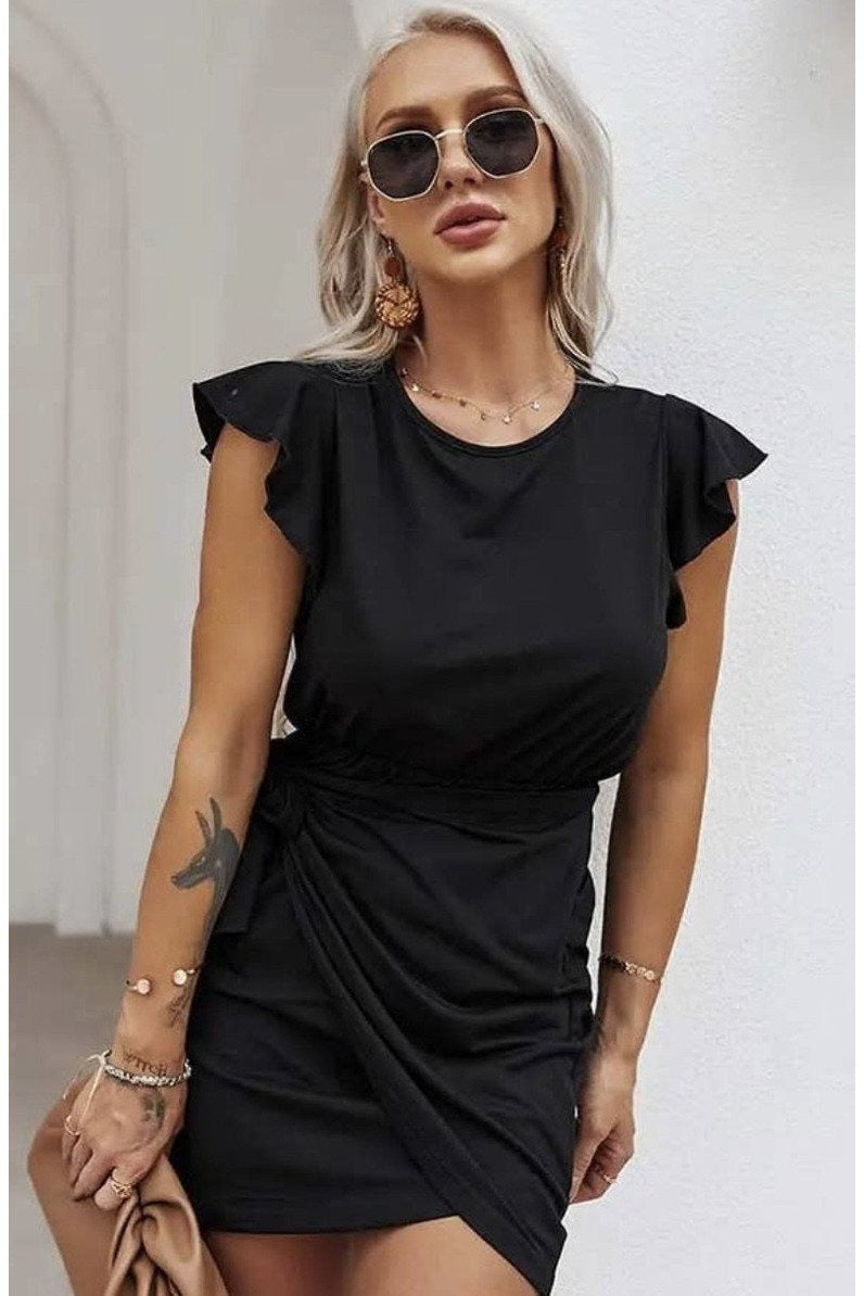 Emma Wrap Mini Dress in Black $44