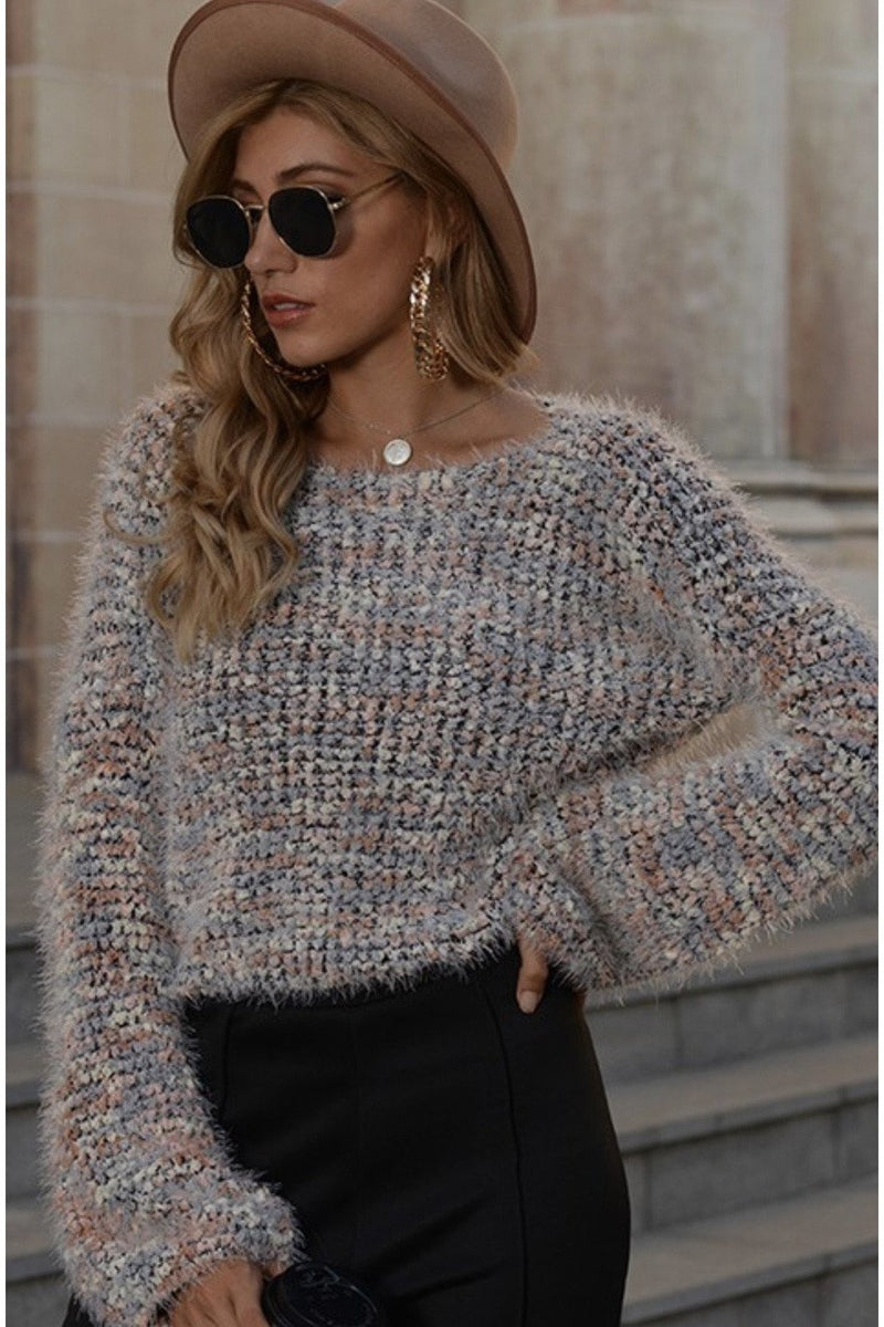 Enza Eyelash Cropped Sweater