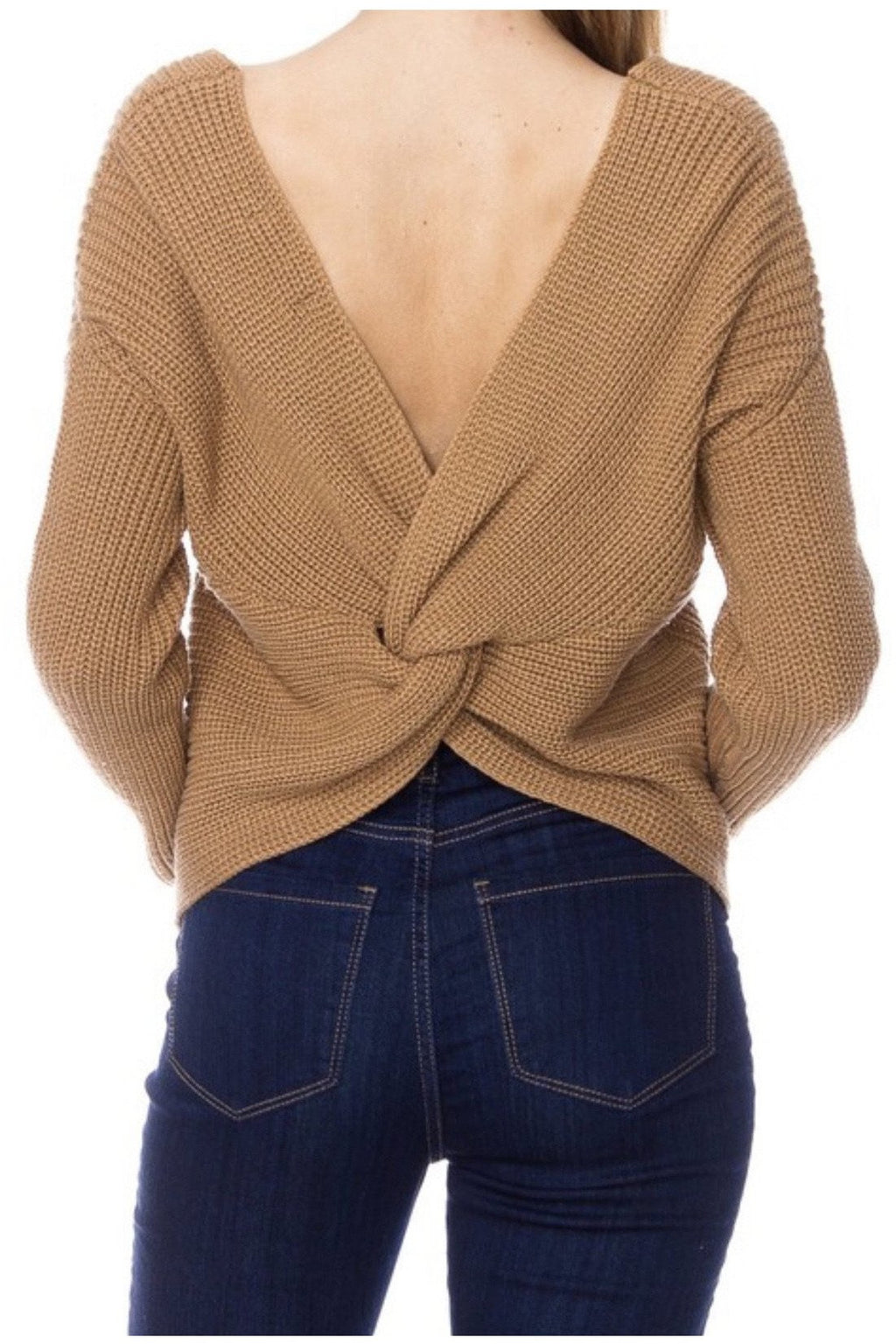 Kendra Twist-back Sweater Camel
