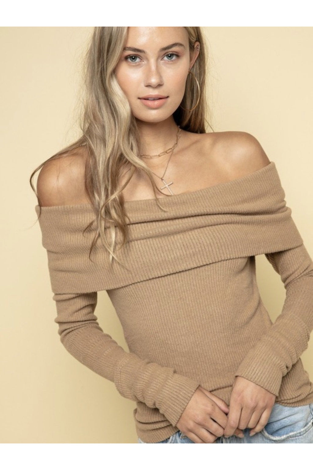 Teagan Off The Shoulder Top in Khaki $44