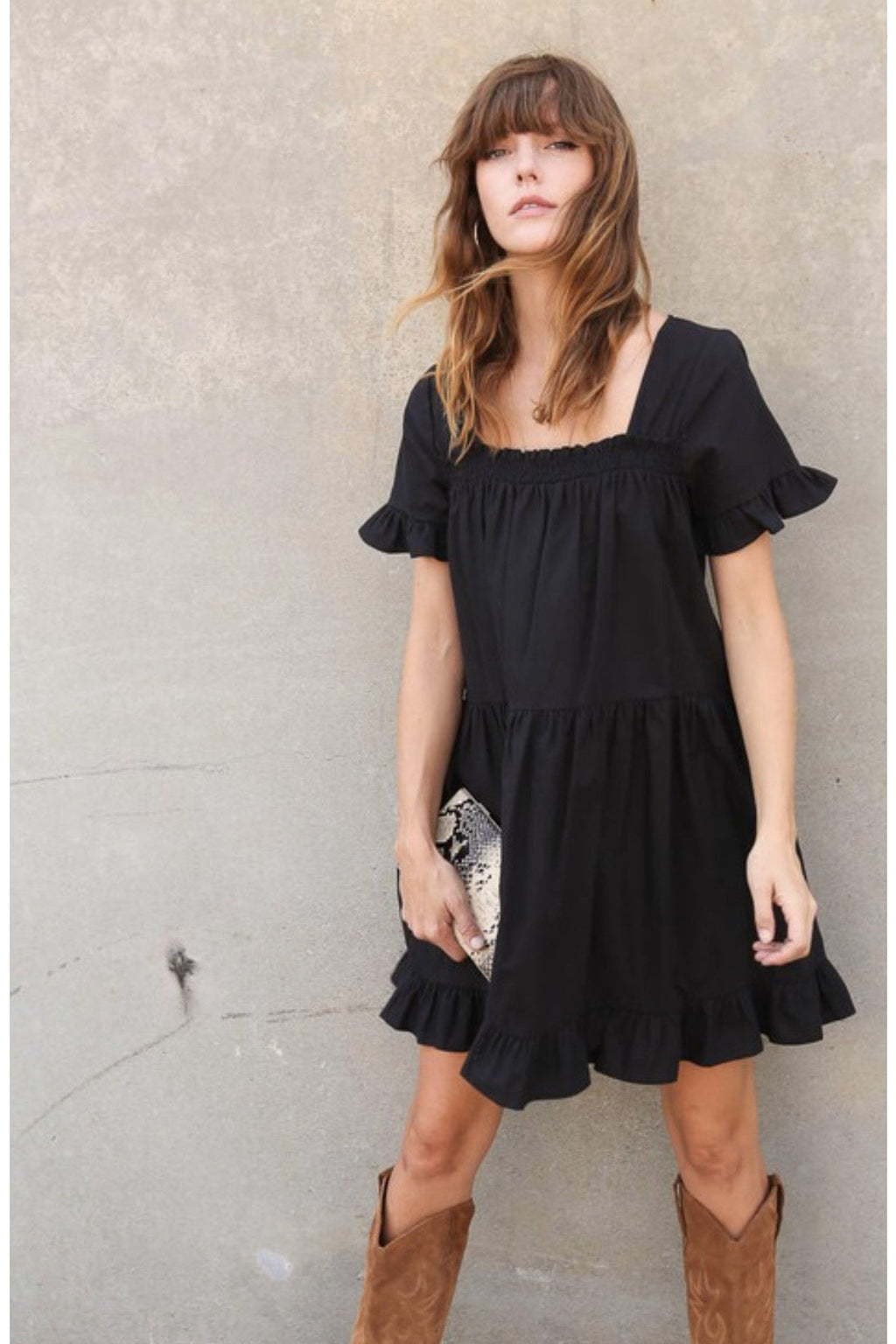 Addison Square Neck Ruffle Dress $48