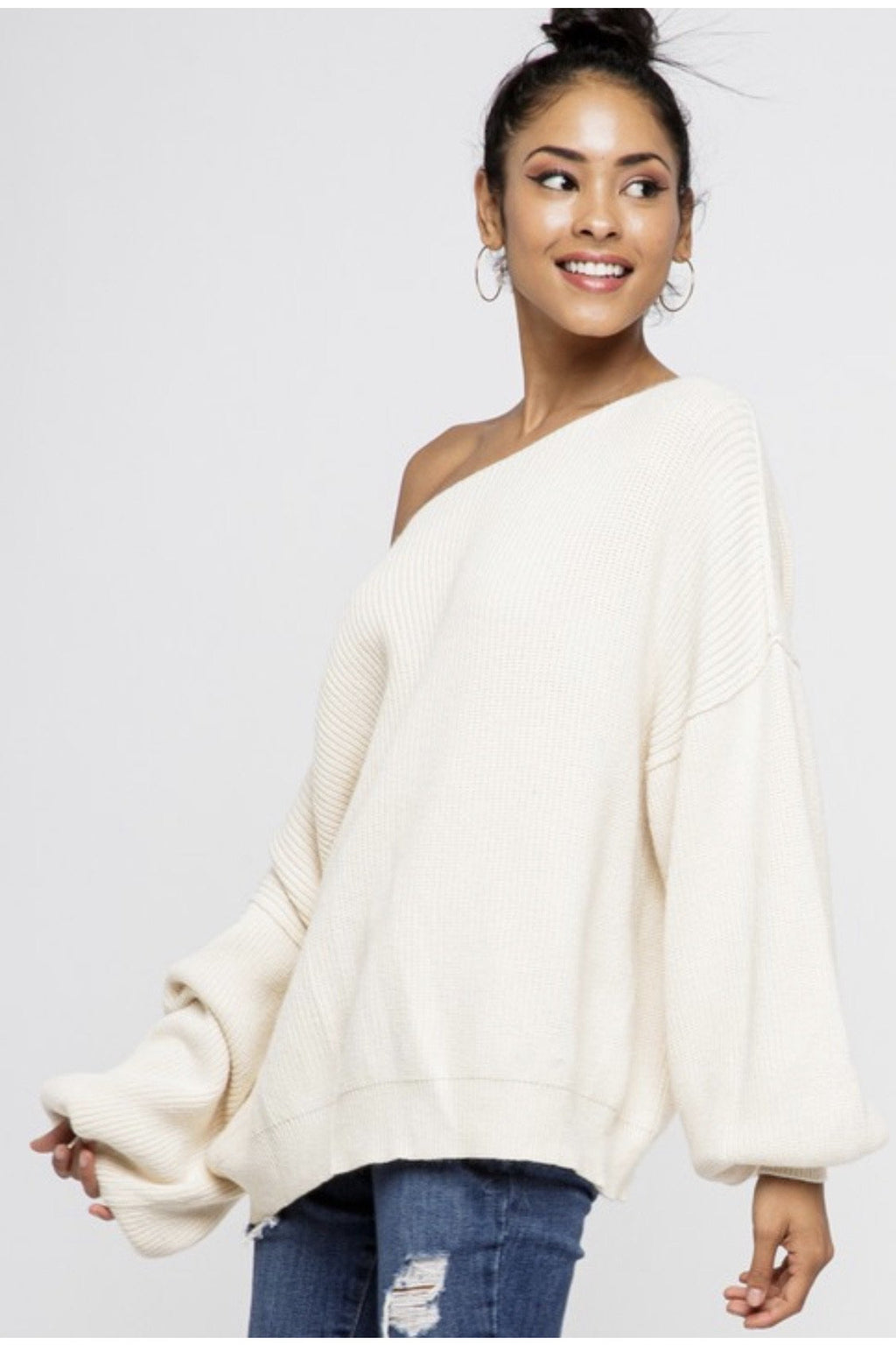 Celeste Bubble Sleeve Sweater $48