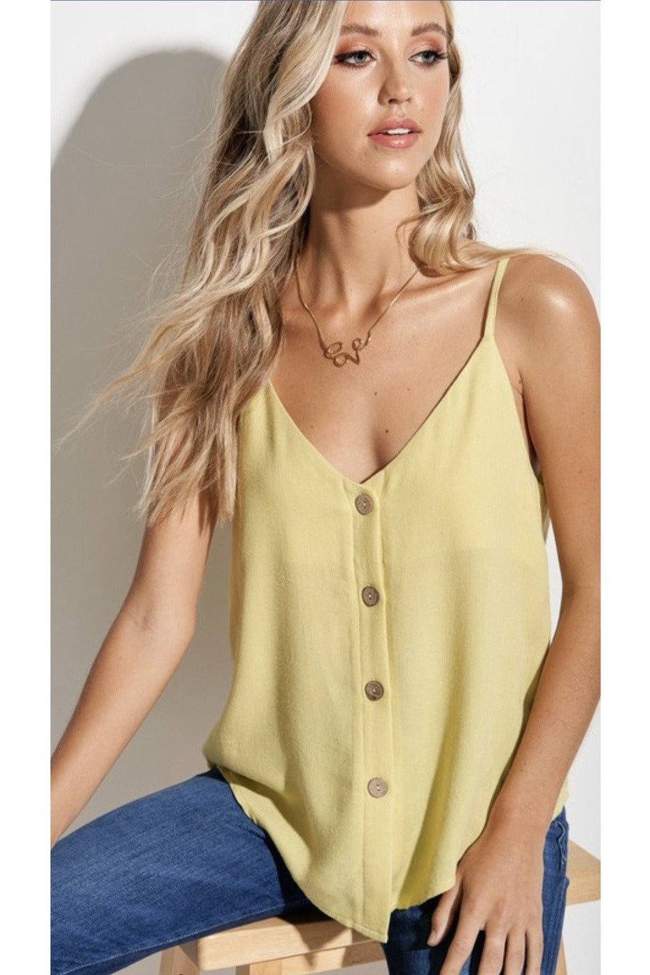 Cali Button Up Top in Lime