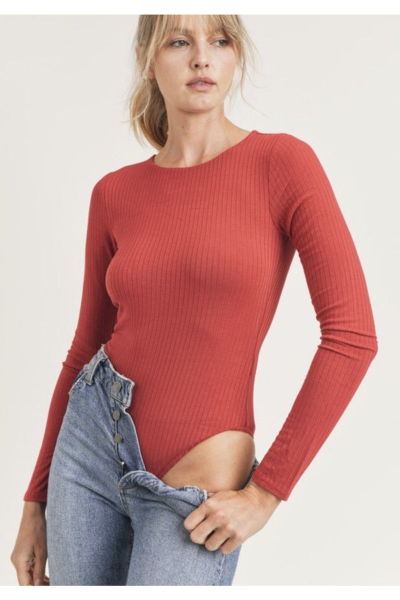 Cara Rib Knit Bodysuit in Red