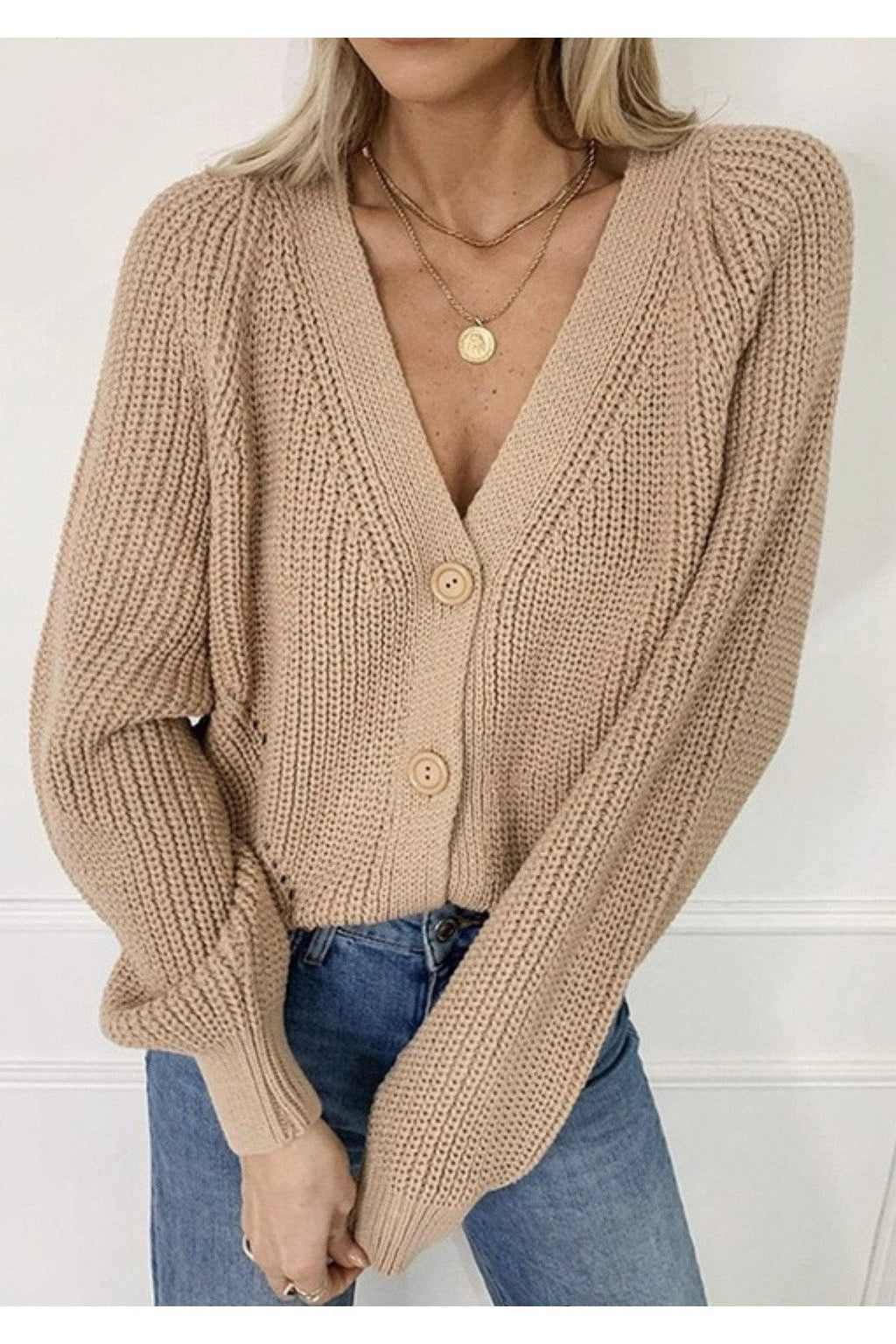 Effie Cropped Cardigan in Khaki
