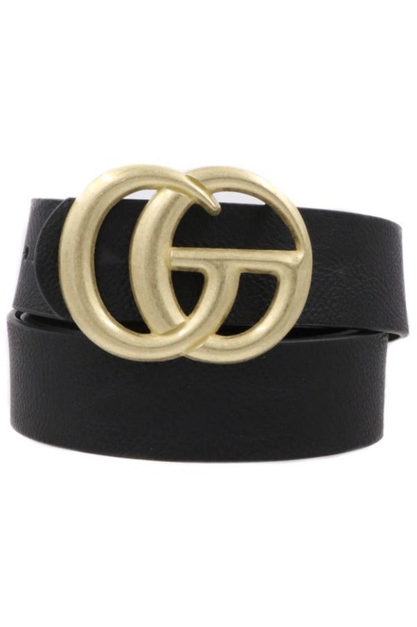 GG Belt in Black/Matte gold