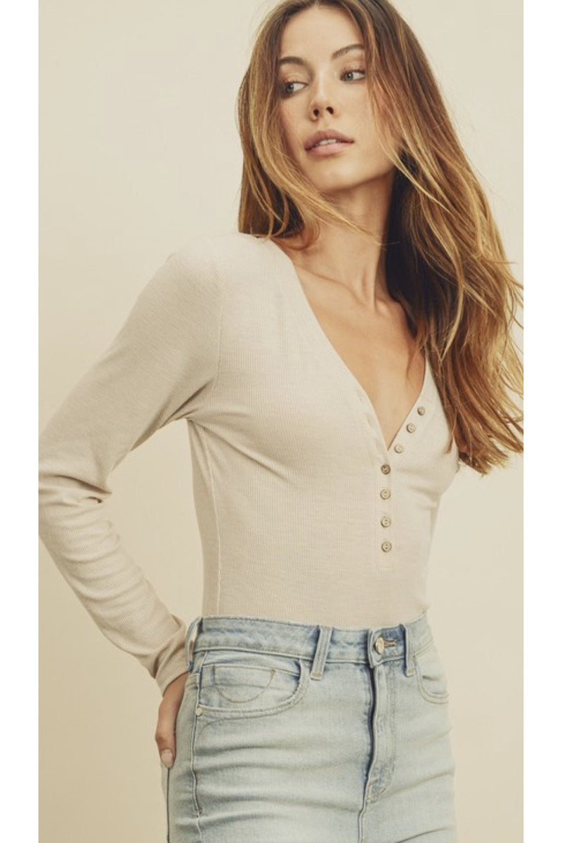 Bella Henley Bodysuit in Nude $36