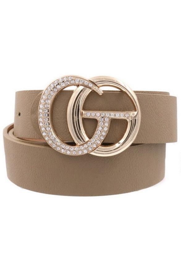 GG Belt in Taupe with Bling