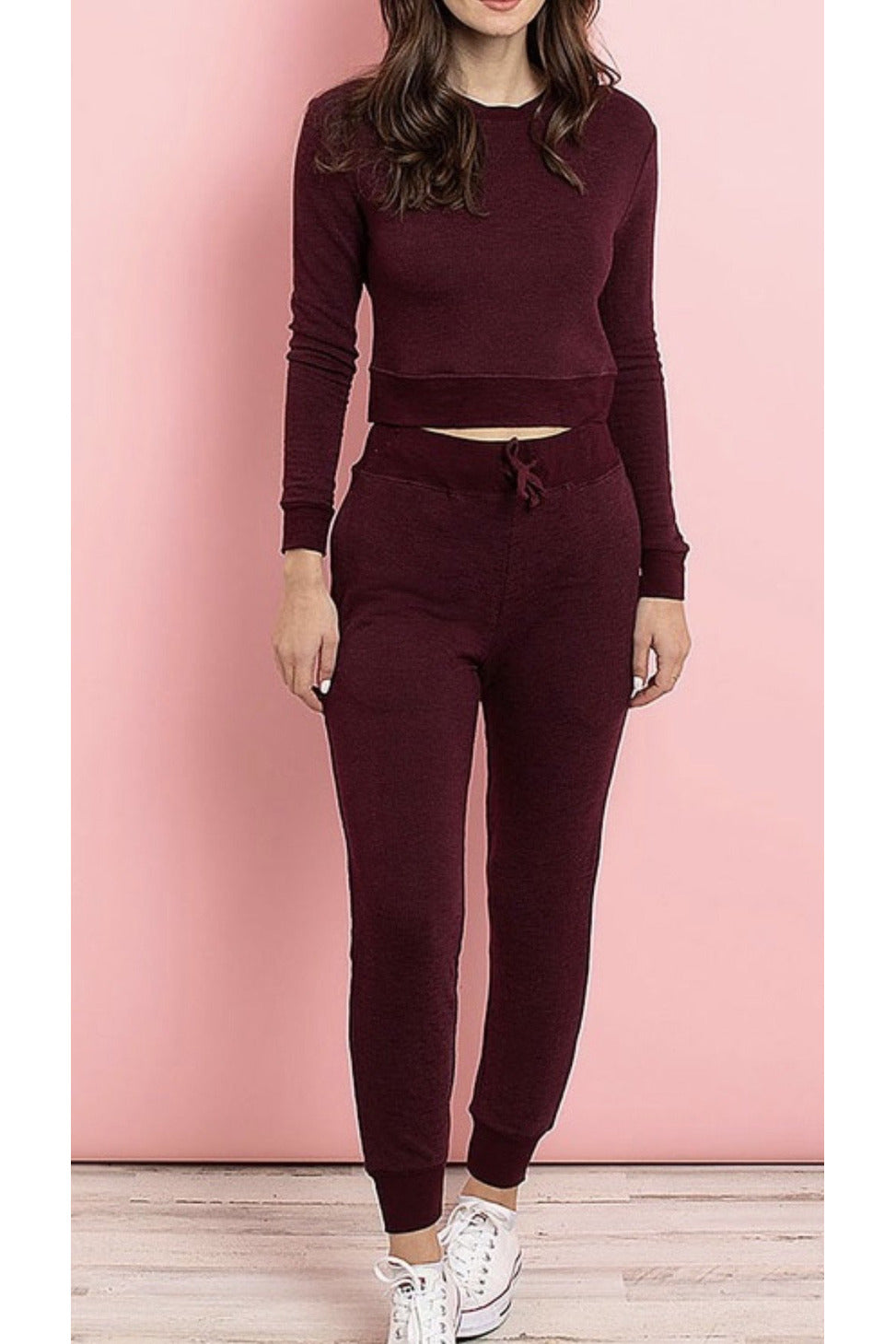 Rachelle Crop Top & Jogger Pant Set in Burgundy