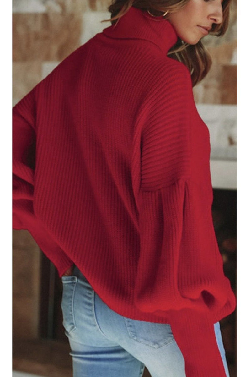 Remi Puff Sleeve Sweater in Red