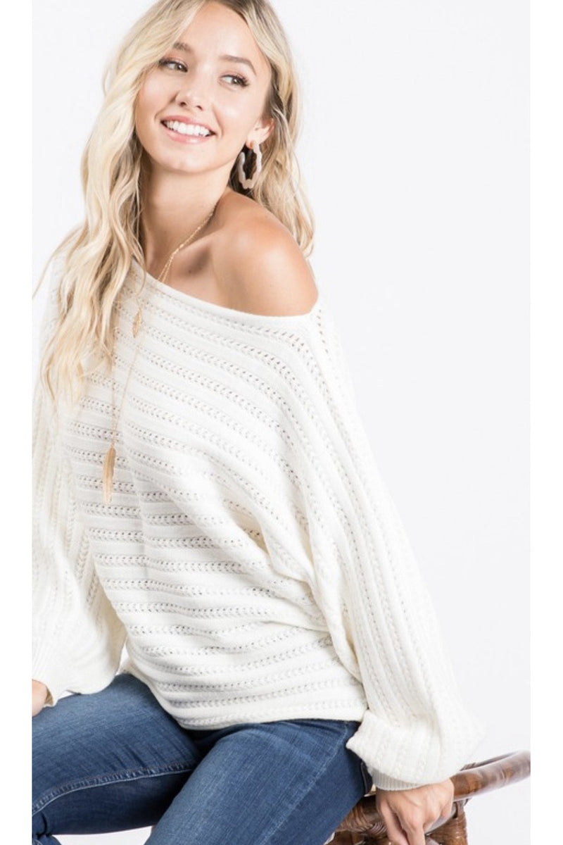Andraina Off The Shoulder Sweater in Cream