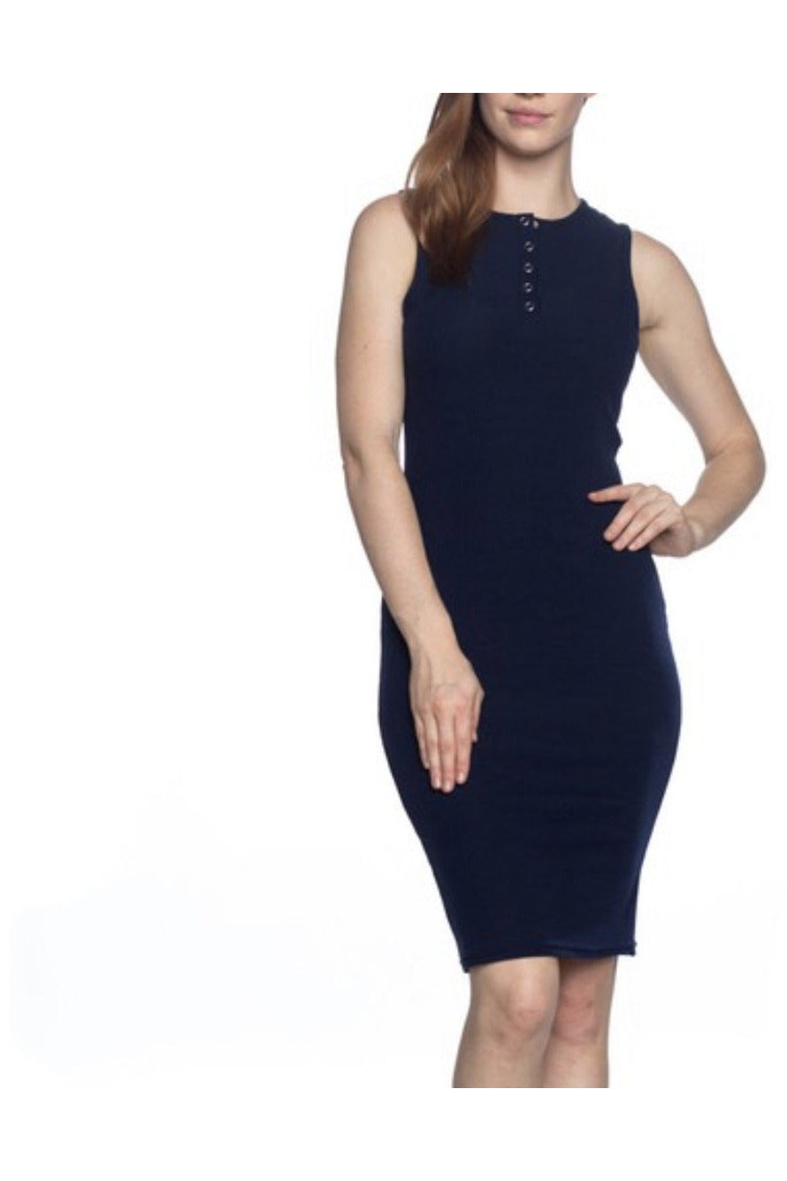 Jessie Ribbed Henley Dress in Navy $26