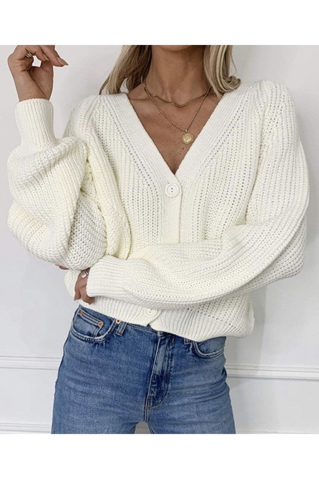 Effie Cropped Cardigan in White