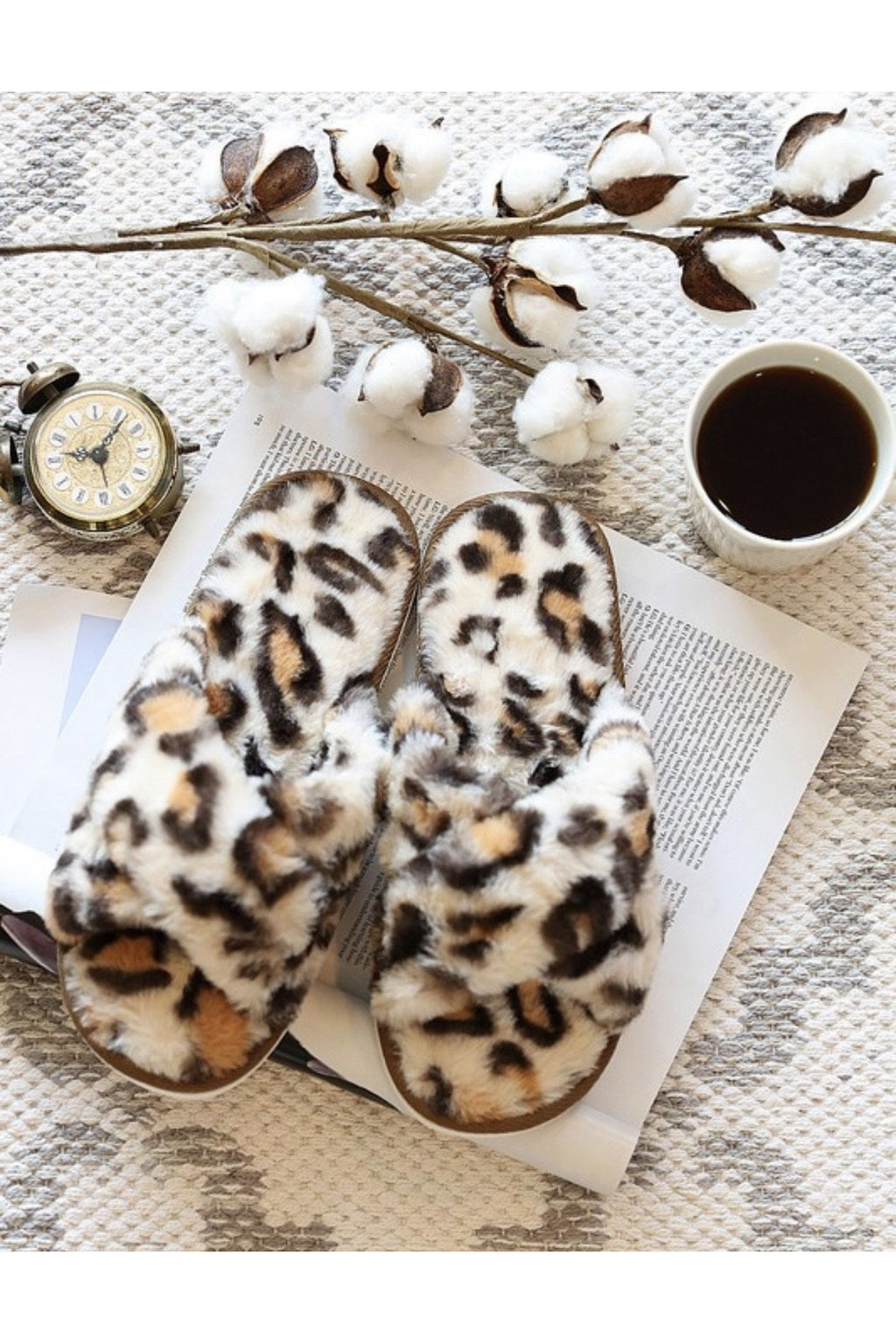 Leopard Lounge Open Toe Slippers