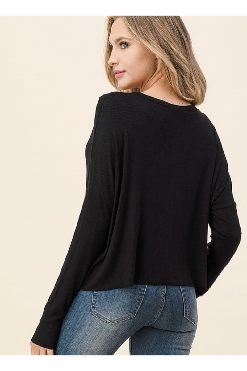 Oversized Knit Button down Top in Black