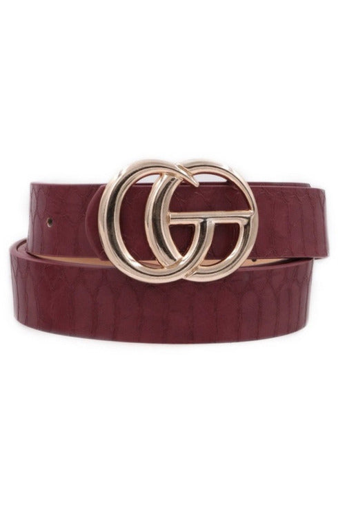 GG belt in Burgundy Crocodile