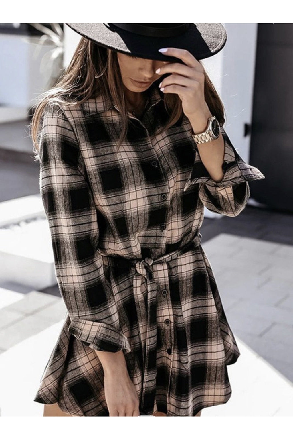 Pandora Plaid Button Down Dress in Black & Beige