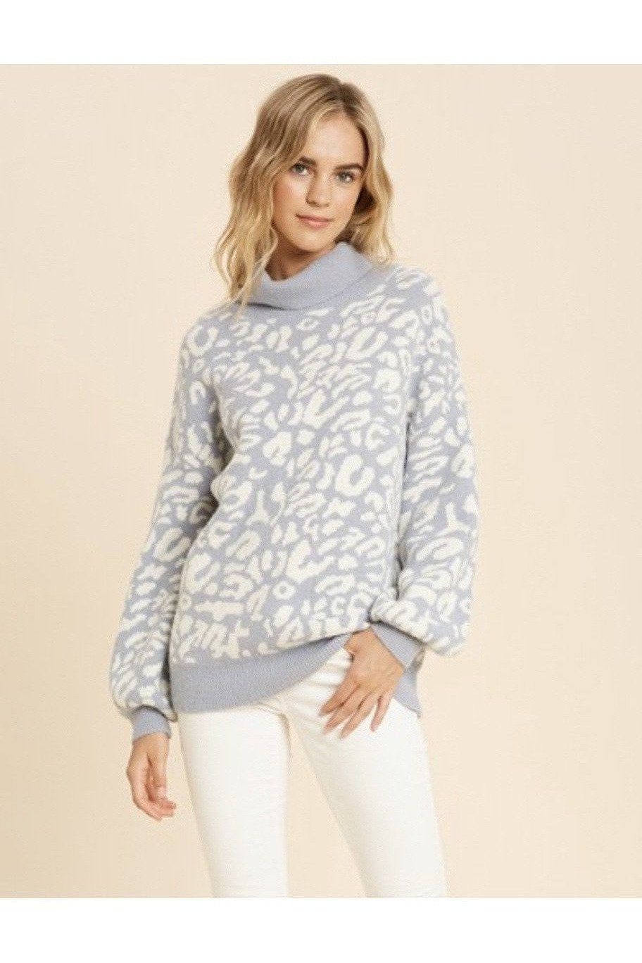 Lena Leopard Turtleneck Sweater in Slate