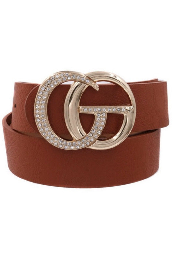 GG Belt in Brown with Bling