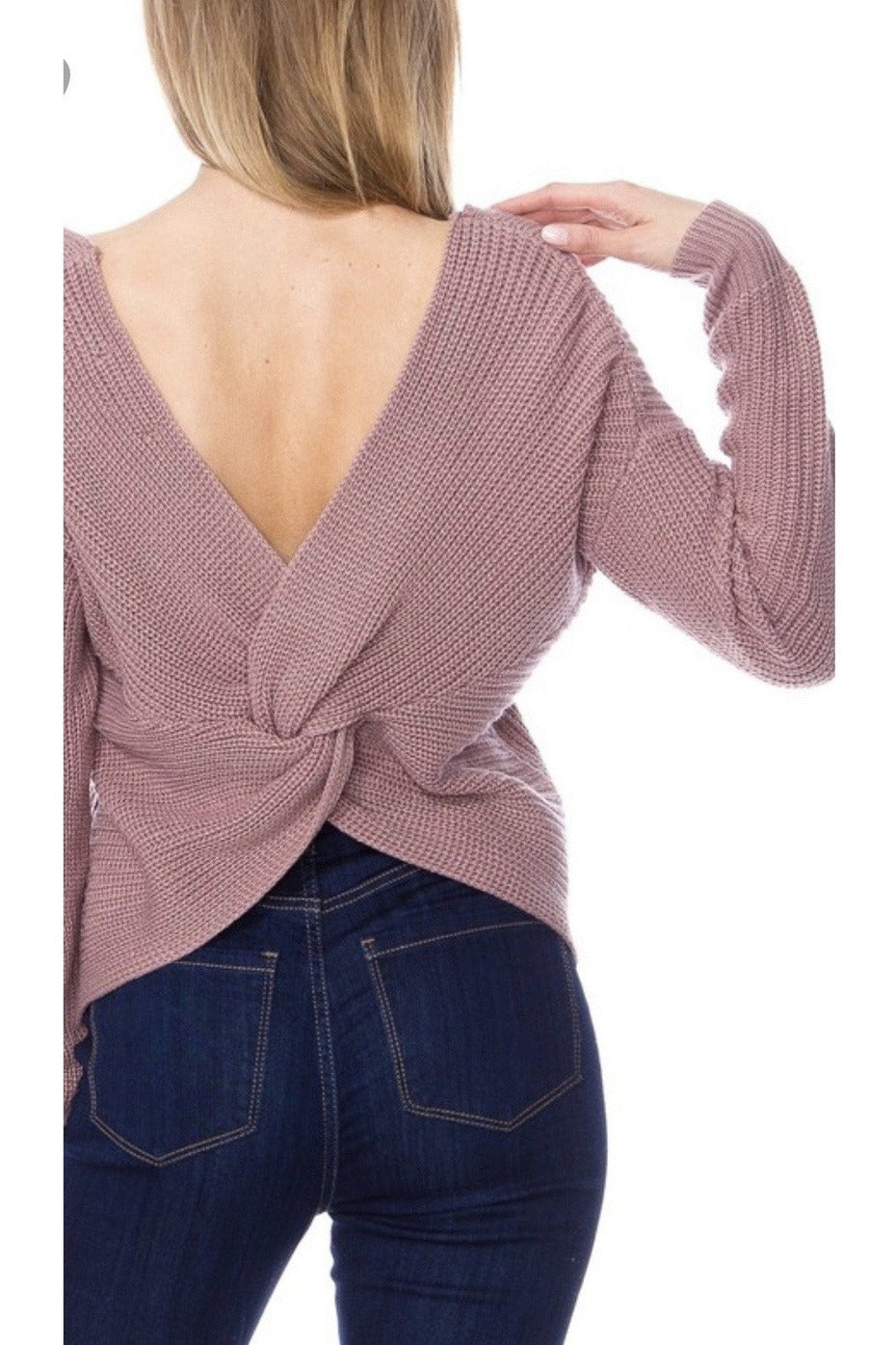 Kendra Twist-back Sweater in Mauve