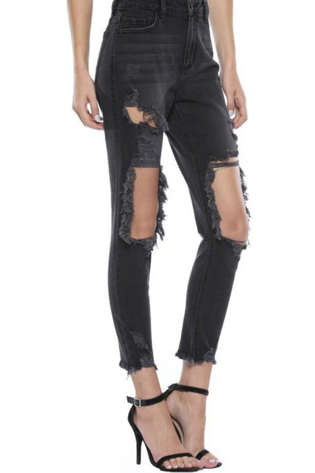 Darsi Ripped Mom Jeans in Black $58