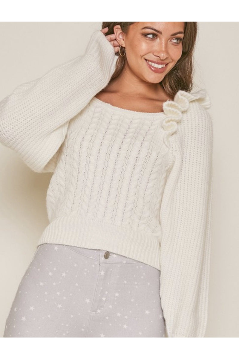 Annalise Ruffle Sleeve Sweater