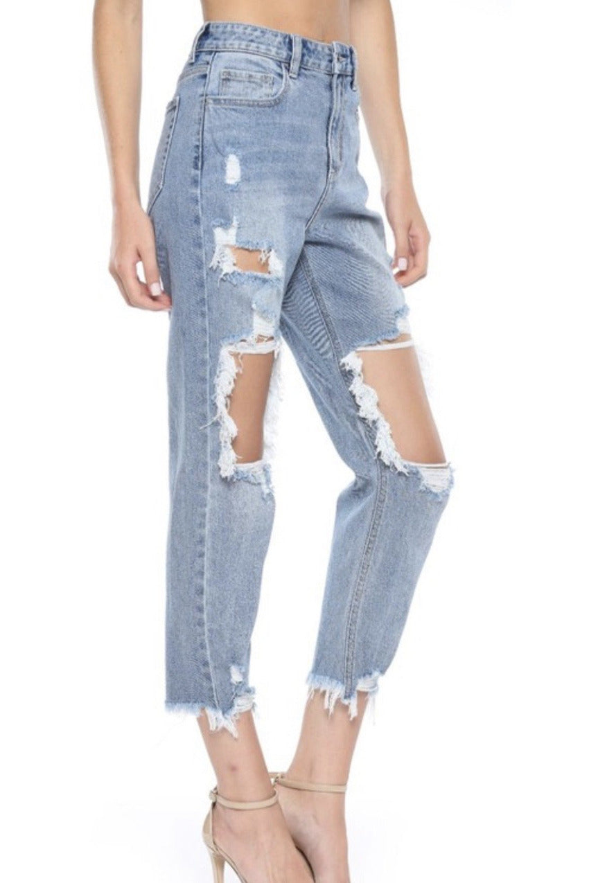 Darsi Ripped Mom Jeans in Light Denim $58