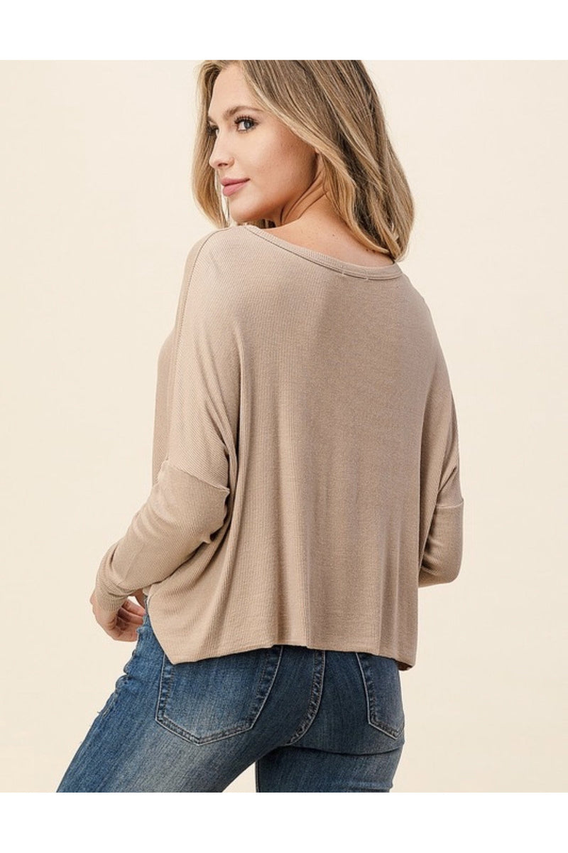 Oversized Knit Button down Top in Taupe $32