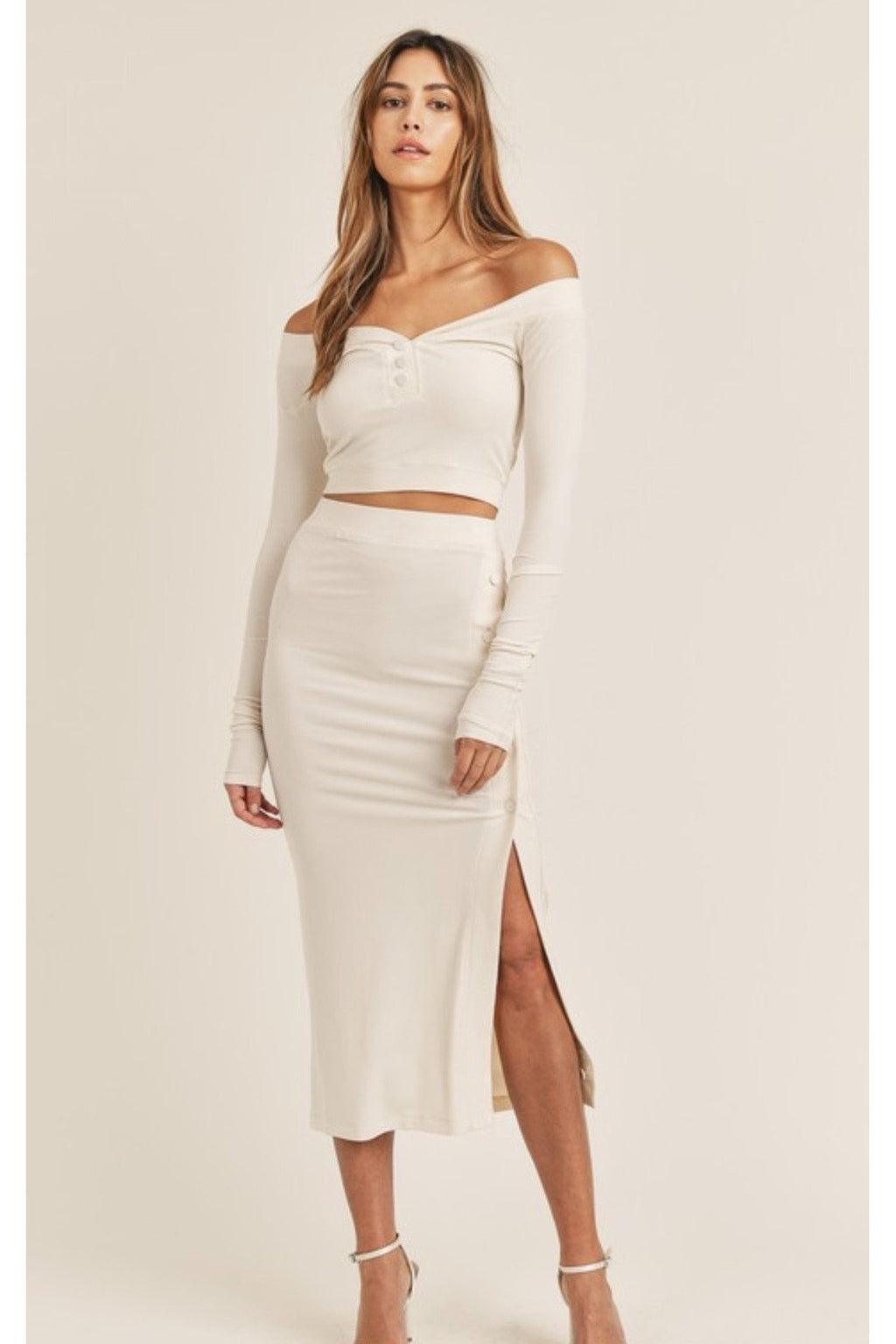 Fiona Two Piece Set in Cream $68