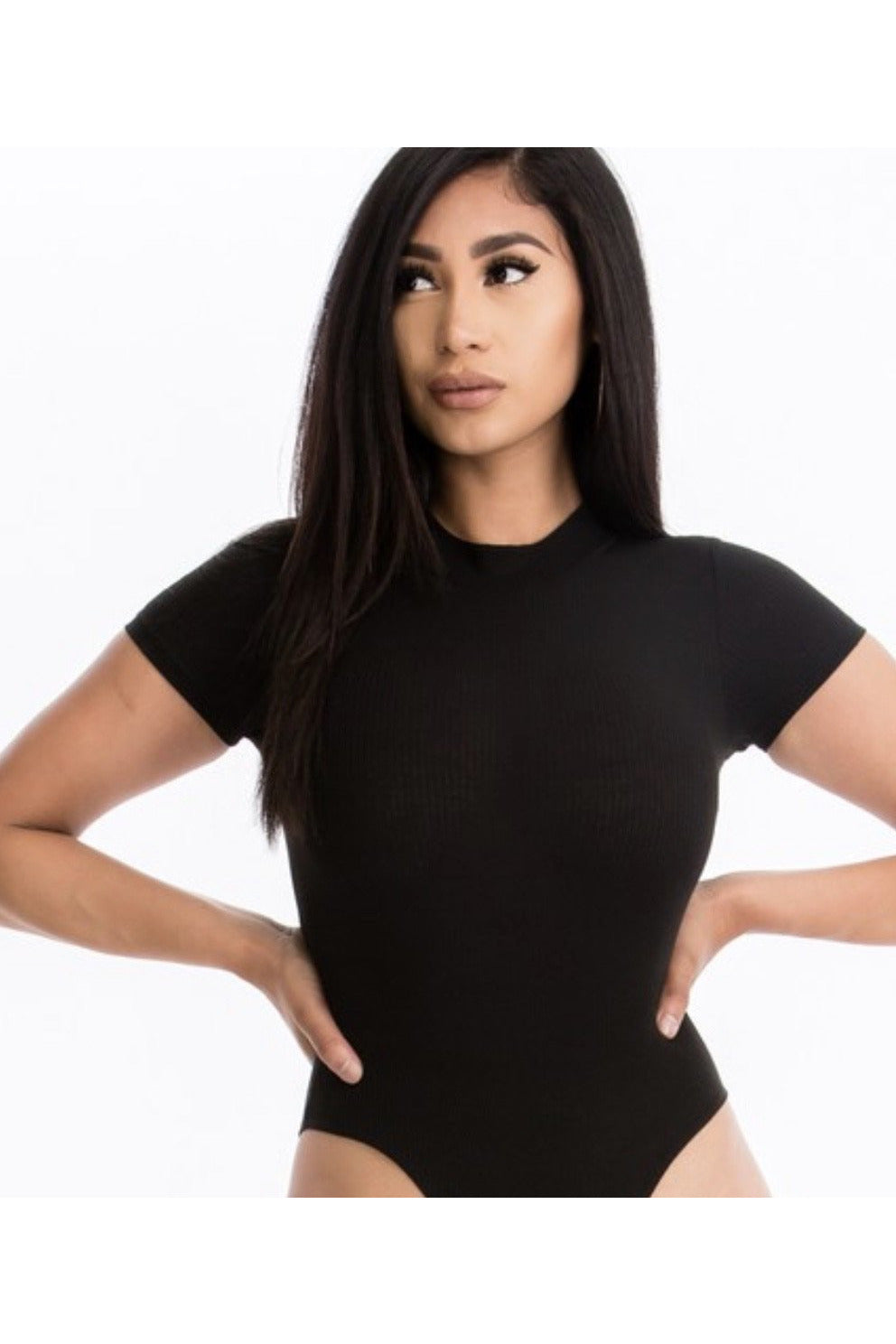 Carter Mock Neck Bodysuit in Black