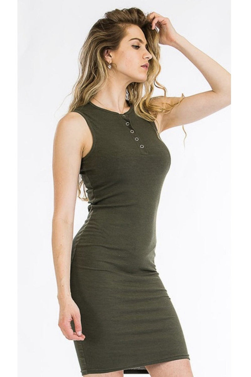 Jessie Ribbed Henley Dress in Olive $26