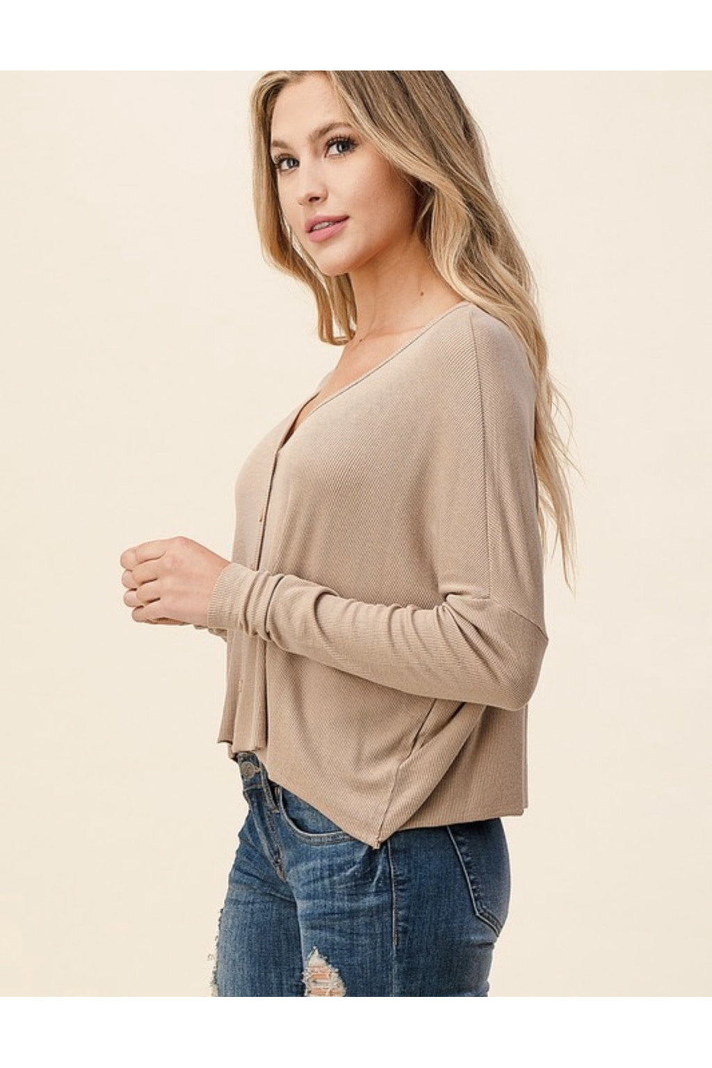 Oversized Knit Button down Top in Taupe