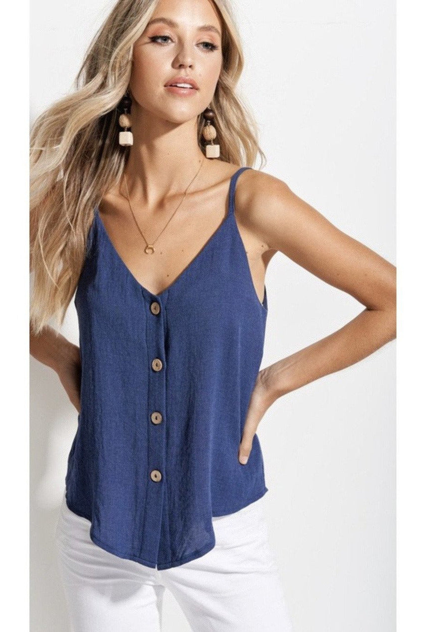 Cali Button Up Top in Blue