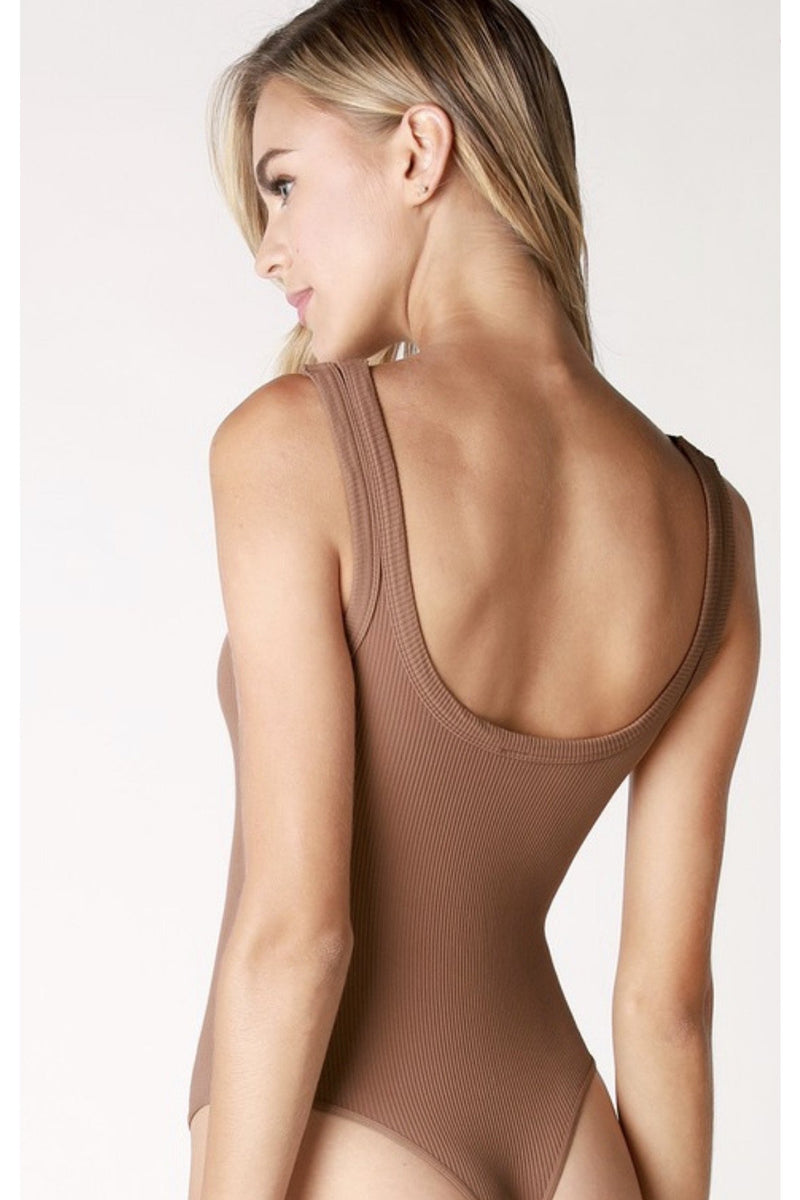 Casey Ribbed Bodysuit in Cognac
