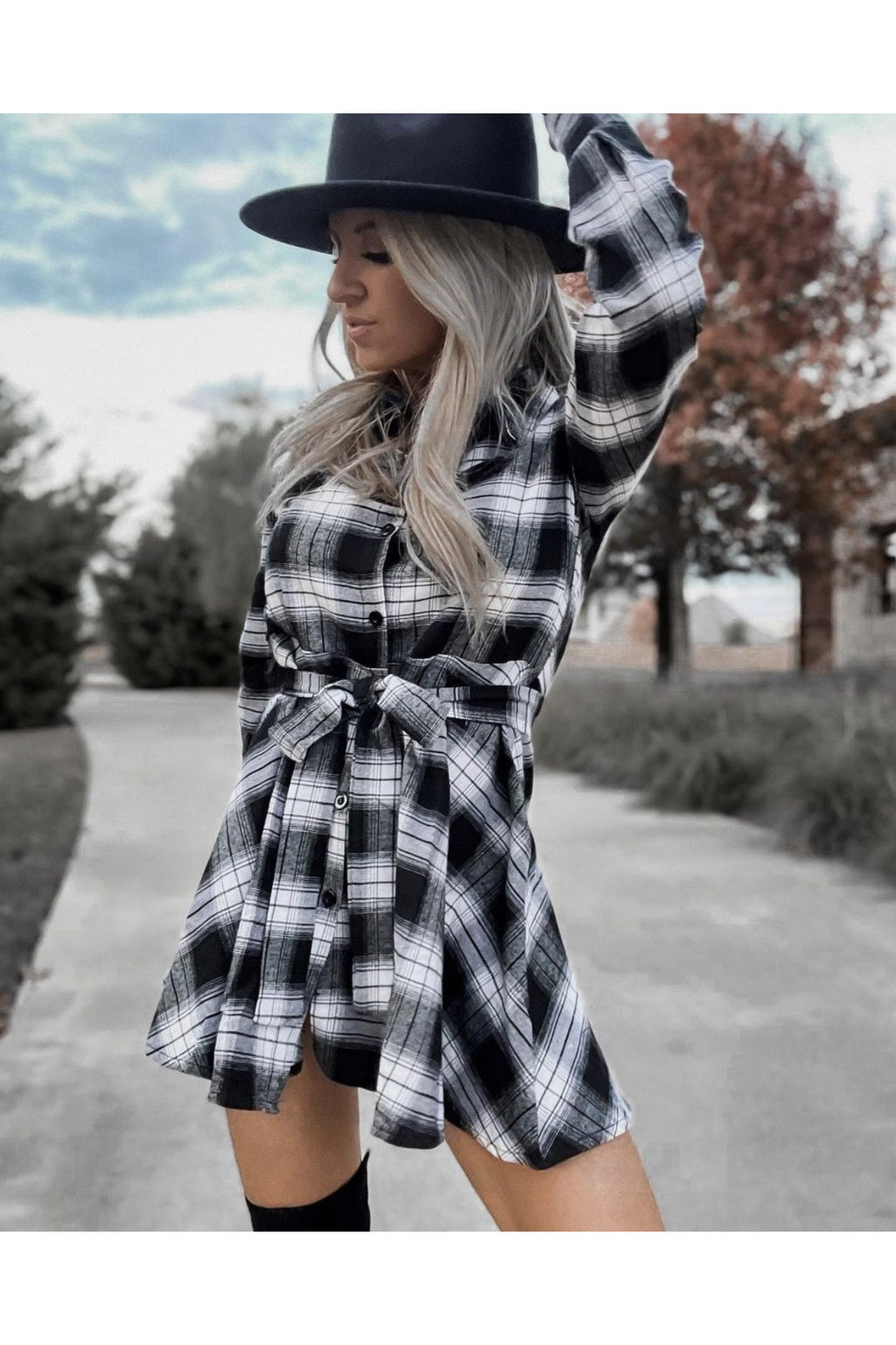 Pandora Plaid Button Down Dress in Black & White