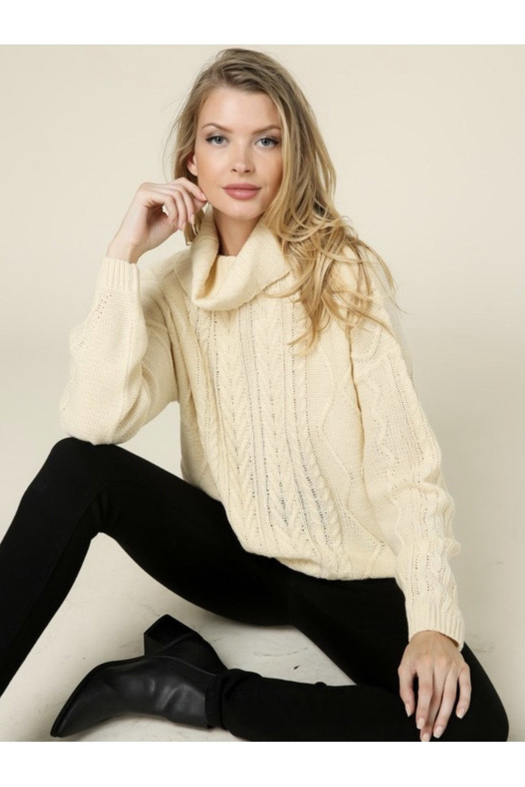 Alba Cable Knit Turtleneck Sweater