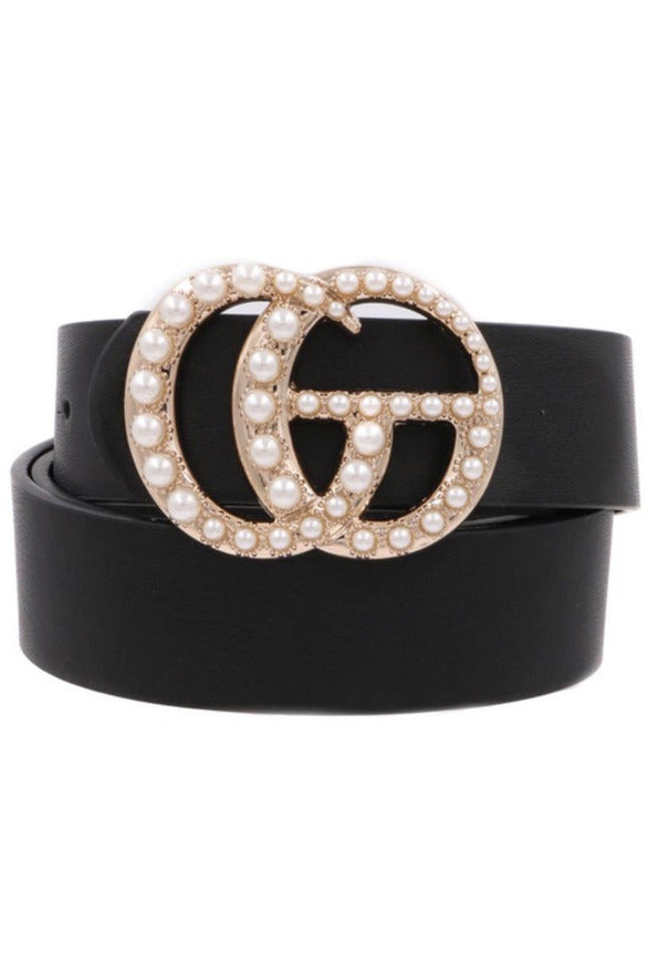 GG Belt in Black/Pearl