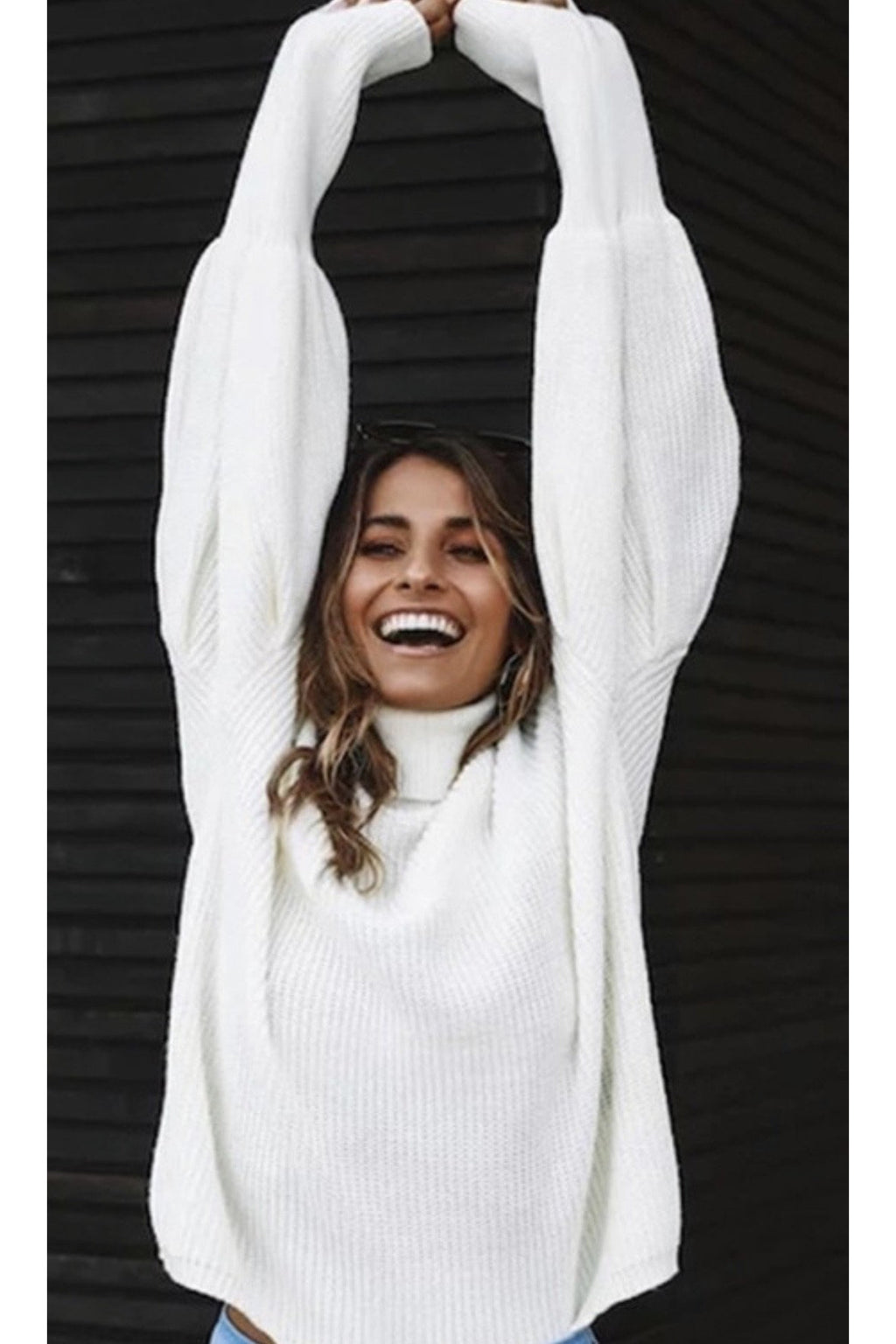 Remi Puff Sleeve Sweater in White