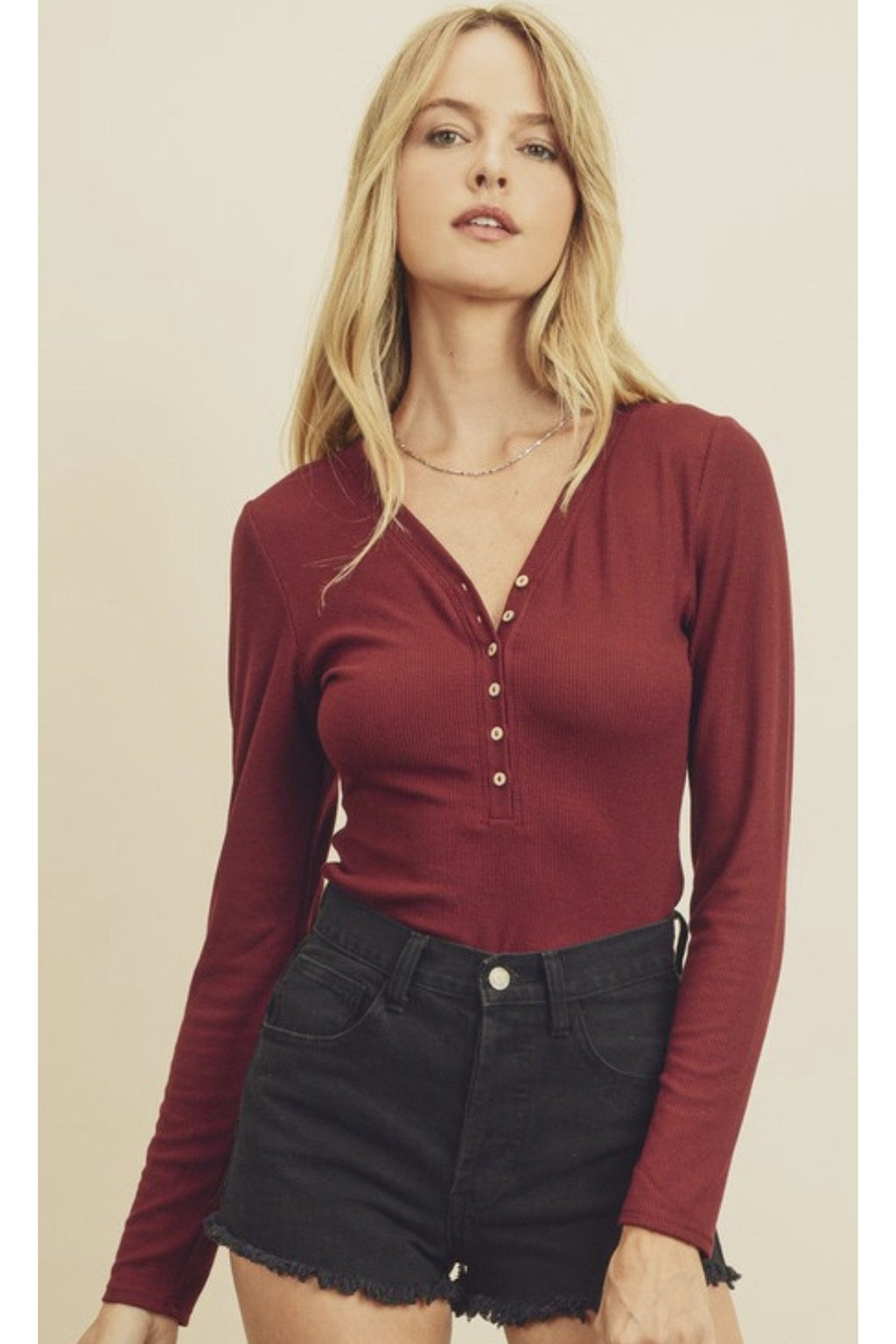 Bella Henley Bodysuit in Wine