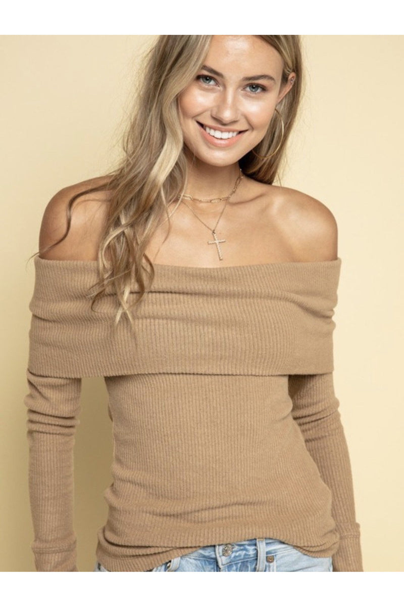 Teagan Off The Shoulder Sweater in Khaki