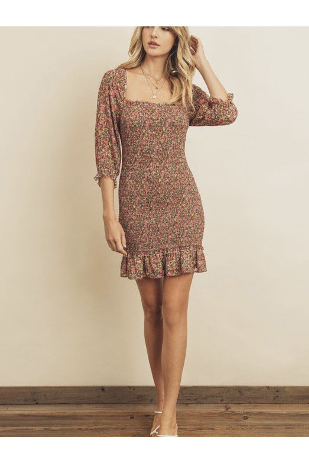 Blossom Shirred Mini Dress $58