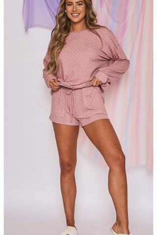 Lola Waffle Knit Lounge Set in Terra Cotta