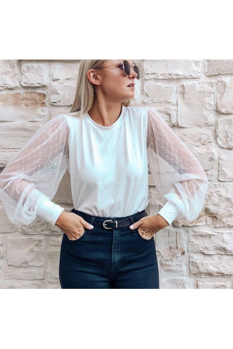 Kayla Sheer Sleeve Top in White