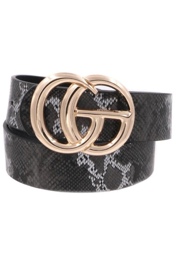 GG Belt in Black & white snake