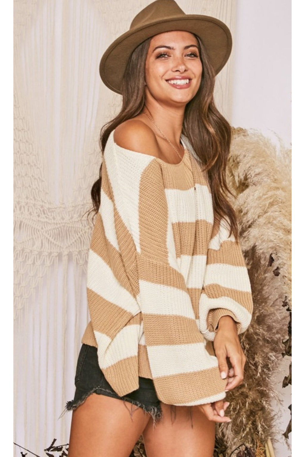 Imogen Striped Chunky Sweater $44