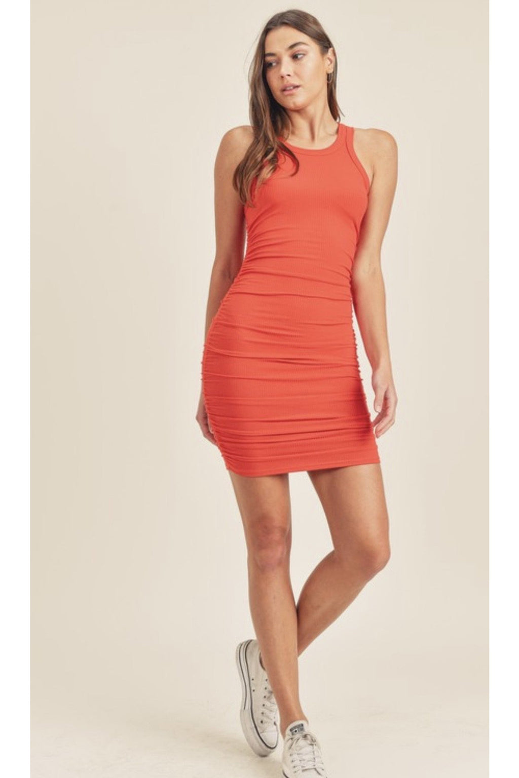 Kenny Ruched Mini Dress in Fire $38