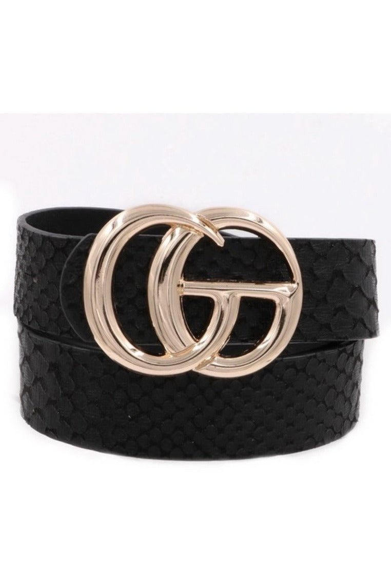 GG Belt in Black snake