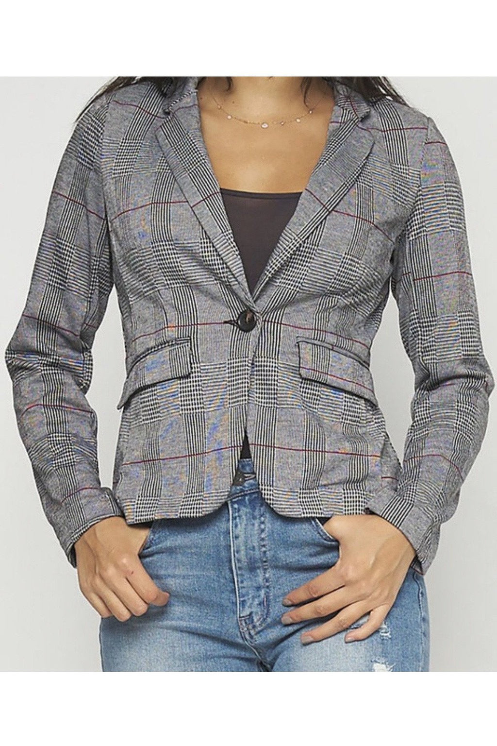 Bridget Fitted Plaid Blazer